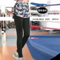 女運動 修身時尚 柔軟提臀 假兩件健身瑜珈運動褲 /小百合 0048