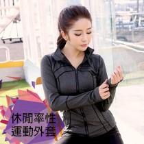 外套/休閒率性運動外套 緊身運動上衣長袖跑步健身瑜珈 拉鍊開衫【小百合】 5998