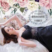 睡衣/小百合大尺碼Annabery優雅黑色緞面細肩帶V領睡衣  NY16020055