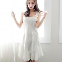睡裙日系蕾絲仙子花邊薄款吊帶冰絲綢緞面睡衣女夏季睡裙 91002 小百合
