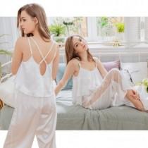 睡衣/白色緞面蕾絲美背居家長褲組 19100105 小百合