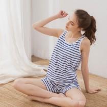 睡衣/親膚透氣精梳絲柔棉無鋼圈BRA罩杯背心套裝居家服睡衣 20100005-2小百合