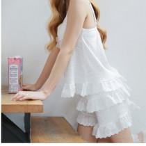 睡衣日系少女甜美吊帶純棉睡衣夏季短褲薄款家居服 91001小百合